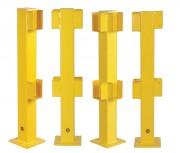 Poteau de protection avec languette de retrait - Couleur : Jaune - Platine de 200 mm x 200 mm x 10 mm
