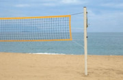 Poteaux de beach-volleyball - Matière : acier galvanisé Ø 90 mm - Hauteur : 2,55 m - Embases à lester incluses