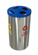 Poubelle acier inoxydable - Tri sélectif 4en1 - Volume : 4 x 30 litres
