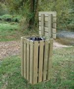 Poubelle carrée en bois -  Hauteur : 1000 mm - Capacité : 100 litres - A sceller