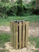 Poubelle carrée bois sans couvercle - Avec ou sans couvercle - Capacité : 100 litres - Hauteur : 1000 mm