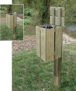 Poubelle carrée en bois 50 litres -  Hauteur : 580 mm - Contenance 50 L - A sceller
