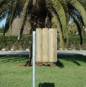 Poubelle d'extérieur à lames bois - Capacité (L) : 28 - Dimensions Corbeille (Diamètre x H) cm : 31 x 48