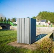 Poubelle d'extérieur en matériau recyclé - Capacité (L) : 100 - Dimensions (L x l) cm : 47 x 47