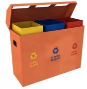 Poubelle de recyclage pour extérieur - 4 bacs - Contenance 55 litres