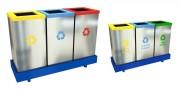 Poubelle de tri sélectif classique - En acier de qualité supérieure - Volume : 3 x 55 litres