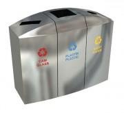 Poubelle design espace commercial - En acier inoxydable - 3 compartiments de 55 litres