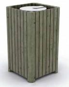 Poubelle en bois carrée - En pin traité - Capacité (L) : 120