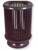 Poubelle extérieure ronde - Volume : 40 L / 60 L - acier bois / acier