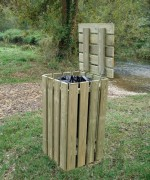Poubelle publique avec couvercle bois - Capacité :  100 litres - Hauteur / Hauteur : 1000 mm