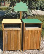 Poubelle publique bois tri sélectif - Dimensions (L x P x H) : 50 x 54 x 95 cm