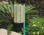 Poubelle publique en bois - Dimensions (Diamètre x H) cm : 31 x 102