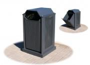 Poubelle publique en métal - Capacité (L) : 96 - Dimensions (L x P x H) cm : 55 x 55 x 96