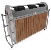 Poubelle recyclage aspect bois - Volume : 3 x 55 L - Structure en acier inoxydable