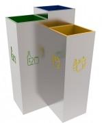 Poubelle recyclage design - 3 bacs d'un volume de 30 litres
