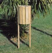 Poubelle ronde en bois 28 Litres - Capacité (L) : 28 - Dimensions corbeille (diamètre x H) : 33 x 48