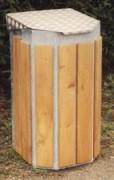 Poubelle ronde en bois avec couvercle - Capacité (L) : 130 - Dimensions (L x l x H) cm : 45 x 45 x 88