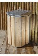 Poubelle ronde en bois extérieur - Capacité (L) : 30