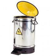 Poubelle ronde en inox à pédale - Poubelle de sécurité