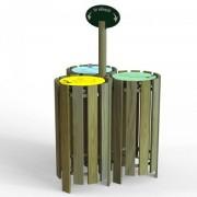 Poubelle ronde tri sélectif en bois - Hauteur 900 mm - Contenance : 100 L - 2 ou 3 corbeilles