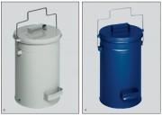 Poubelle sécurisée - Capacité : 15 L - Dimensions : H.380 x Ø 270 mm - Finition : acier galvanisé ou inox