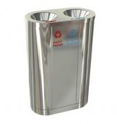 Poubelle tri selectif 2 bacs - En acier - Tri du papier et plastique