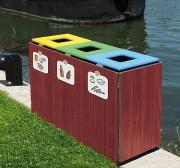 Poubelle tri sélectif en bois - Capacité : 150 Litres (3 x 50)