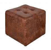 Pouf en peau synthétique - Dimensions : 41 x 41 x 38 cm