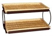Présentoir 2 niveaux supports métal - Dimensions : 63 x 37 - Métal et osier
