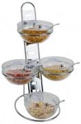 Présentoir à céréales en fil chromé - 4 bols en verre fournis, couvercles inclus