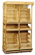 Présentoir à pain verticale osier - Dimensions (L x P x H) cm : 129 x 60 x 220