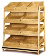 Présentoir boulangerie 4 niveaux - Dimensions (L x P x H) cm : 130 x 60 x 165