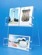 Présentoir de cartes postales plexiglas - 2 étages - Capacité : 40 mm par étage