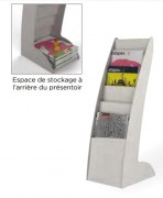 Présentoir fixe pour brochure - Modèle : Sur pieds - Format : A4 - Matière : Polystyrène et polystyrène cristal