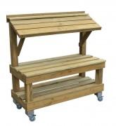 Présentoir fruit et légume en bois 2 niveaux - Encombrement : 500 x 1200  Hauteur 1250