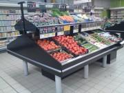 Présentoir métallique fruits et légumes - Disponible en mural ou en ilot avec 1 ou 2 niveaux supplementaires