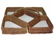 Présentoir mosaïque en osier brut - Dimensions : 100 x 100 - Osier brut