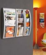 Présentoir mural  - 4 cases A4,  5 cases A5 ou 5 cases 1/3A4