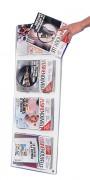 Présentoir mural magazine 4 cases - En plexiglas - Dimensions (l x Ht) : 35 x 100 cm