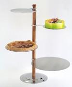 Présentoir pâtissier en bois et inox - Hauteur : 72 cm - 4 étages