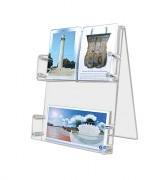 Présentoir plexi cartes postales de bureau - Hauteur : 32 cm - Capacité : 4 cm par étage