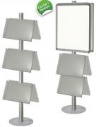 Présentoir porte brochures aluminium - Dimensions : 500 x 700 - 360 x 460 mm