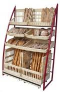 Présentoir pour pain en osier - Dimensions (L x P x H) cm :133 x 55 x 200