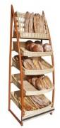 Présentoir pour pain en osier blanc - Dimensions (L x P x H) cm : 70 x 55 x 200