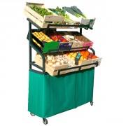 Présentoir primeur fruits et légumes - Dimensions (L x l x h) cm : 127 x 41 x 167