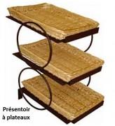 Présentoirs 3 étages supports en métal larges - Dimensions : 33 x 49 et 38 x 59 - Osier et métal