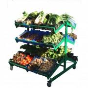 Présentoirs fruits et légumes double face - 4 roulettes dont 2 avec freins