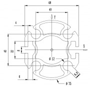 Profilé aluminium diametre 75 - PRS 11 075