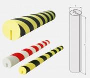 Protection mousse d'angle souple - Longueurs : 730 mm / 980 mm - Coloris : Rouge/blanc ou Jaune/noir