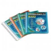 Protège-documents en polypropylène à pochettes amovibles Vario Zip 40 vues bleu - Elba